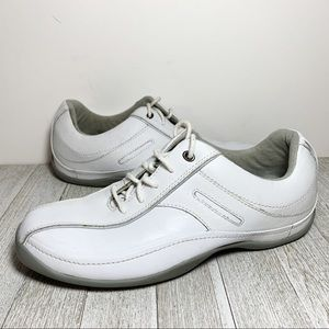 Clarks White Leather Lace Up Sneakers